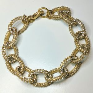 "J Crew Bracelet 7.5"" Clear Pave Crystal Gold Tone"